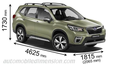 Subaru Forester 2019 dimensions with length, width and height