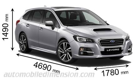 Subaru Levorg 2016 dimensions with length, width and height
