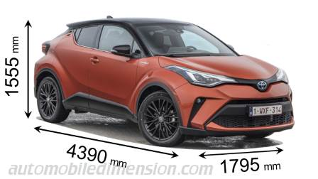 Toyota C-HR 2020 dimensions with length, width and height