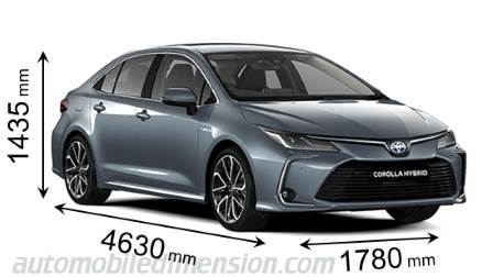 Toyota Corolla Sedan 2019 dimensions with length, width and height