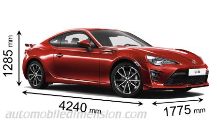 Toyota GT86 2016 dimensions with length, width and height