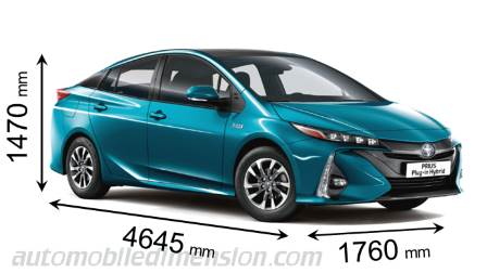 Toyota Prius Plug-in Hybrid 2017 dimensions with length, width and height