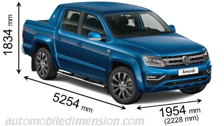 Volkswagen Amarok 2016 dimensions with length, width and height