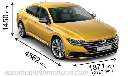 Volkswagen Arteon 2017 dimensions with length, width and height