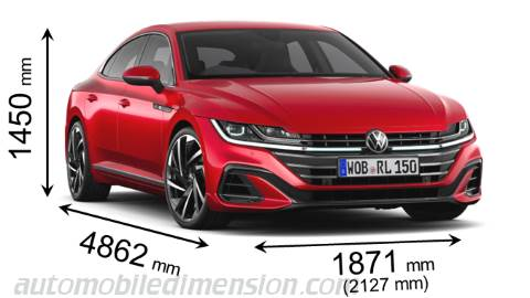 Volkswagen Arteon 2021 dimensions with length, width and height