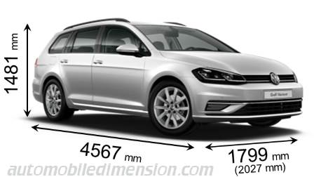 Volkswagen Golf Estate measures in mm
