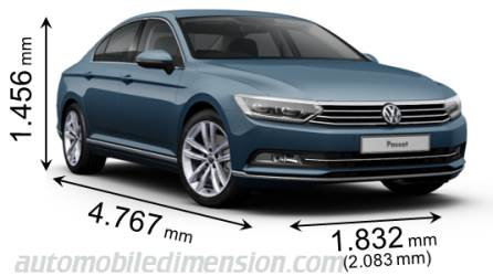 Volkswagen Passat 2015 dimensions with length, width and height
