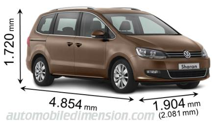 Dimension Volkswagen Sharan 2010