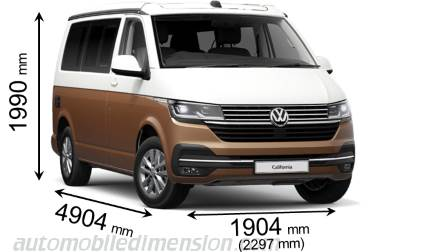 Volkswagen T6.1 California 2020 dimensions with length, width and height