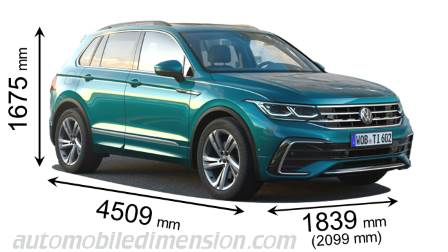 Volkswagen Tiguan 2021 dimensions with length, width and height