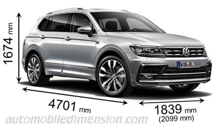 Volkswagen Tiguan Allspace measures in mm