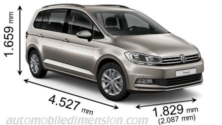 dimensions volkswagen touran 2016 coffre et int rieur. Black Bedroom Furniture Sets. Home Design Ideas