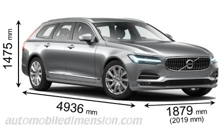 Volvo V90 2016 dimensions with length, width and height