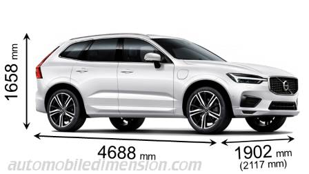 Volvo XC60 2017 dimensions with length, width and height